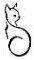 Tekenng van kat als logo van CatsCreations-sieraden